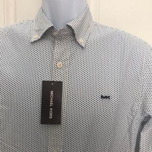 NEW wTag-MICHAEL KORS White w/Nautical Blu Shirt S